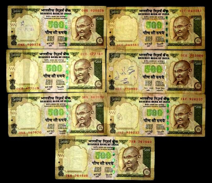 The Rs 500 notes that were demonetised by the Reserve Bank of India