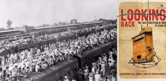 People travelling through trains across border during partition and the book cover