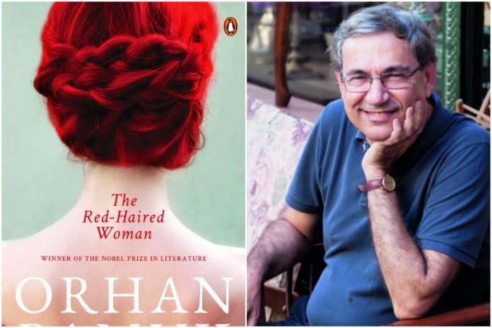 Orhan Pamuk and the cover of his new book titled 'The Red-Haired Woman'