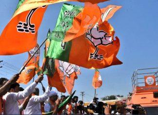 BJP followers waving flags