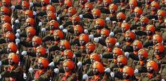 Rows of army men on parade