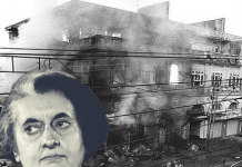 Indira Gandhi and an image of the 1984 riots in Delhi