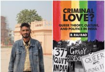 Picture of author, R. Raj Rao combined with a copy of his book 'Criminal Love?' on Section 377 of IPC.