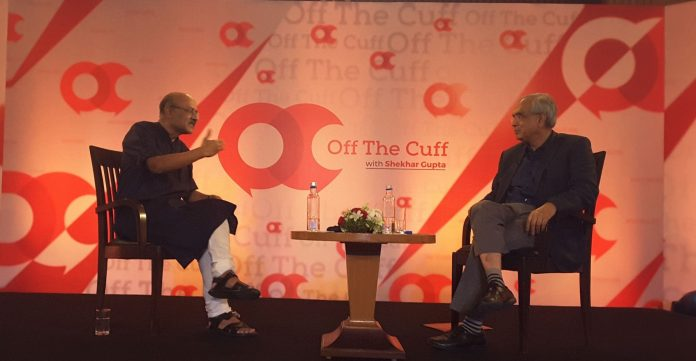 ThePrint's Editor-in-chief Shekhar Gupta with Niti Aayog vice Chairman Rajiv Kumar