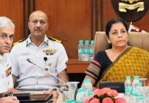 Defence minister Nirmala Sitharaman at the Naval Commanders' Conference