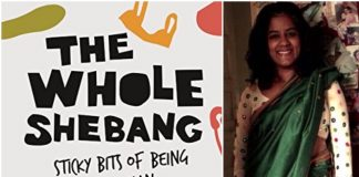 collage of book cover of 'The Whole Shebang' on the left with picture of Lalita Iyer, the author on the right