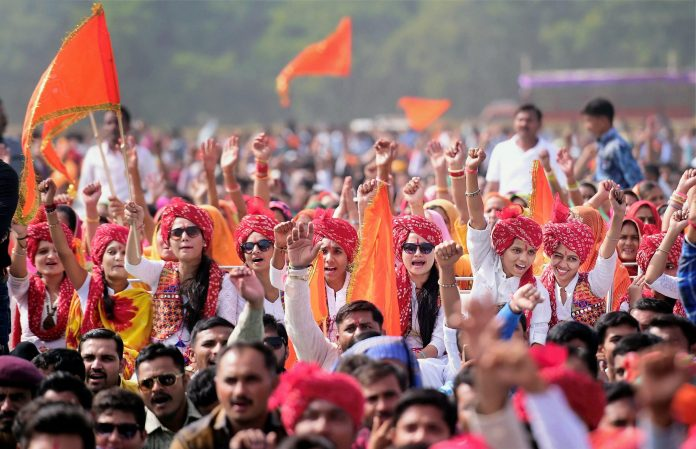 Members of Sri Rajput Karni Sena shout slogans during a protest rally against movie Padmavati. PTI