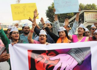 A protest after a recent case of rape in Bhopal.