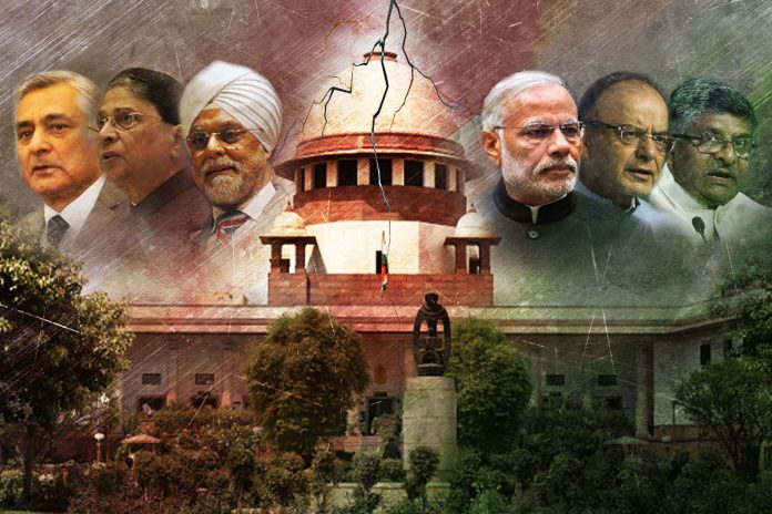 An illustration showing the Chief Justices of India and the Government of India