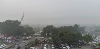 View of the Central Park at Rajiv Chowk, enveloped by heavy smog in New Delhi on Wednesday.