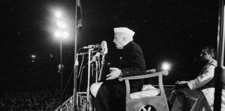 Nehru addressing a crowd