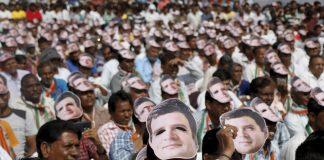 People seen wearing masks of Congress vice-president Rahul Gandhi while attending a public rally in Gandhinagar.