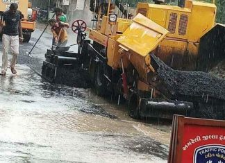 A photo showing a road being paved in Gujarat