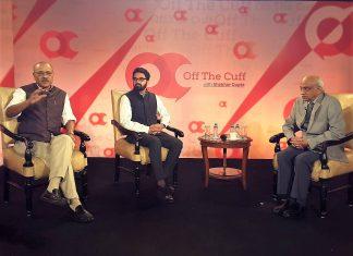 Shekhar Gupta, Manu Pubby, and ISRO chairman A.S. Kiran Kumar