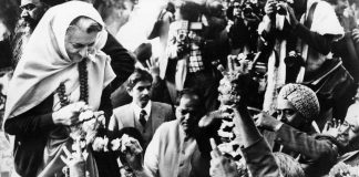 Indira Gandhi receives garlands of flowers from people after winning the 1980 elections