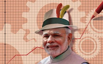 An illustration of Modi wearing a hat