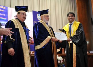 PM Narendra Modi handing out degrees at a graduation ceremony