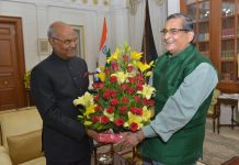 An image showing BJP MP RK Sinha (right) with President Ram Nath Kovind (left)