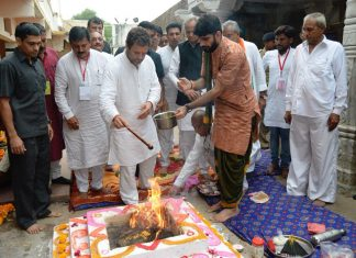 Rahul Gandhi during a visit to a temple in Gujarat