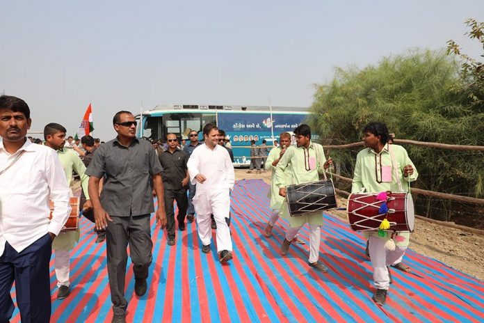 Congress Vice President Rahul Gandhi on the campaign trail in Gujarat