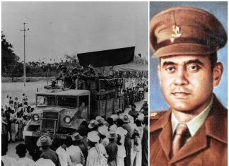 A truck taking troops and portrait of Shaitan Singh