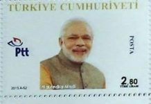 A stamp issued by Turkey for the G20 Summit in 2015, featuring Prime Minister Modi