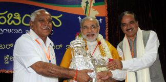 Former Chief Minister B S Yeddyurappa (left) with Narendra Modi (centre) and MP Anantha Kumar (right) in 2009 in Karnataka