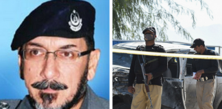 A photo of Deceased Inspector general (AIG) telecommunications, Hamid Shakee and a representational image of Pakistan Police