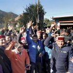 BJP supporters celebrating their party's success in Himachal Pradesh