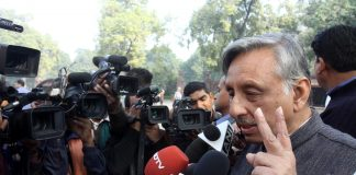 Senior Congress leader Mani Shankar Aiyar speaks to members of the media