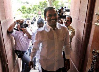 A. Raja entering Parliament