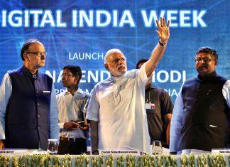 Prime Minister Narendra Modi along with Arun Jaitley and Ravi Shankar Prasad