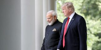 Modi and Trump walking
