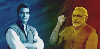 A graphic depicting Rahul Gandhi and Narendra Modi