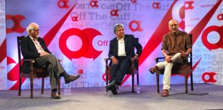 Surjit Bhalla, Nandan Nilekani and Shekhar Gupta on stage