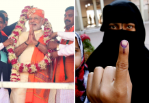 Prime Minister Narendra Modi at a rally and a Muslim woman after voting in the first phase of the Gujarat elections.
