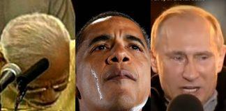 L-R: Prime Minister Narendra Modi, Former President, Barack Obama, President Vladimir Putin