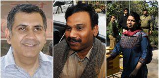 L-R: Unitech Ltd. Managing Director Sanjay Chandra, Former telecom minister A. Raja, DMK MP Kanimozhi