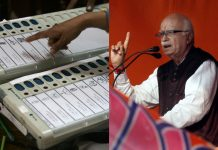 A collage of EVM and LK Advani