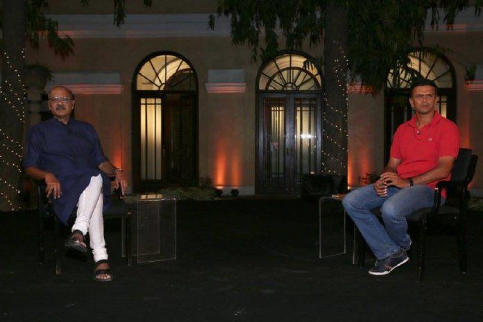 Rahul Dravid with the Editor-in-Chief of ThePrint Shekhar Gupta