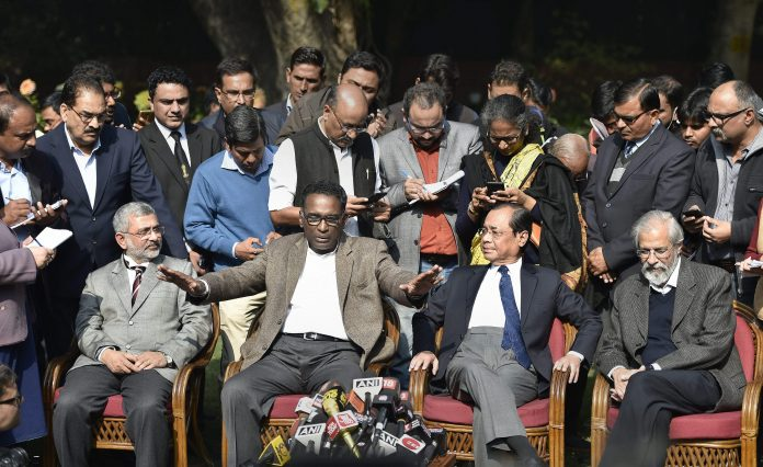Supreme Court judge Chelameswar, Gogoi, Lokur and Joseph during a press conference