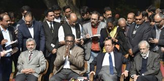 SC judge Jasti Chelameswar along with other judges addresses a press conference