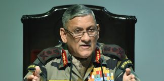 Bipin Rawat addresses a press conference