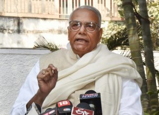 Yashwant Sinha talking to press