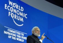 Prime Minister Narendra Modi delvers his speech at the plenary session of the World Economic Forum, in Davos on Tuesday.