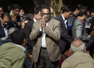 Supreme Court judge Jasti Chelameswar during a press conference at his residence