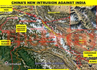 A satellite image showing where China is building a new road near the Siachen Glacier