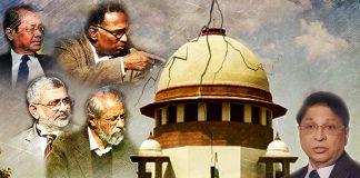 A graphic showing the Supreme Court, Chief Justice of India Dipak Misra, Justices Jasti Chelameswar, Ranjan Gogoi, Kurian Joseph, and Madan Lokur