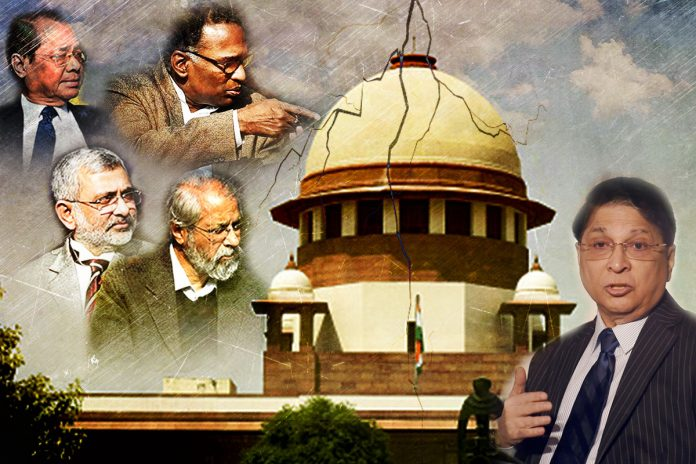 A graphic showing the Supreme Court, Chief Justice of India Dipak Misra, Justices Jasti Chelameswar, Ranjan Gogoi, Kurian Joseph‬‬, and Madan Lokur
