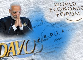 A graphic showing Narendra Modi and the World Economic Forum at Davos